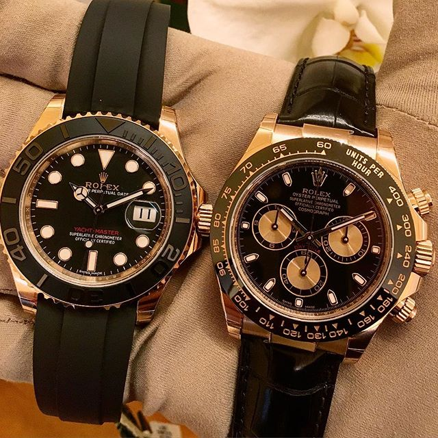 Rolex Yacht-Master 40 Ref. 116655 & Rolex Daytona Ref. 116515LN, (c) Instagram @jeweler_in_paradise
